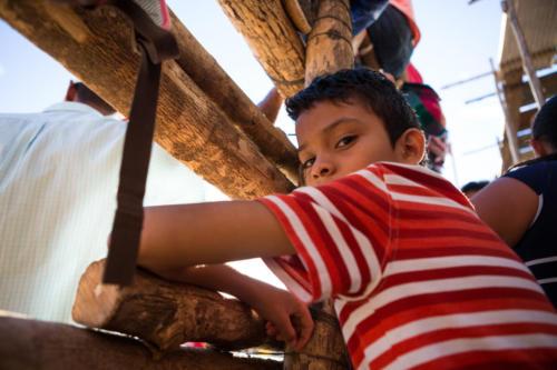 Algunos miran así, abajito, justo al lado de la barrera. Aquí están seguros, pero con la mejor vista.